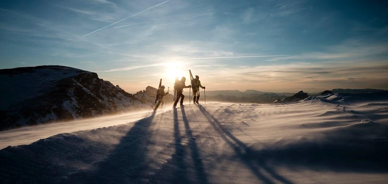 People skiing on slope