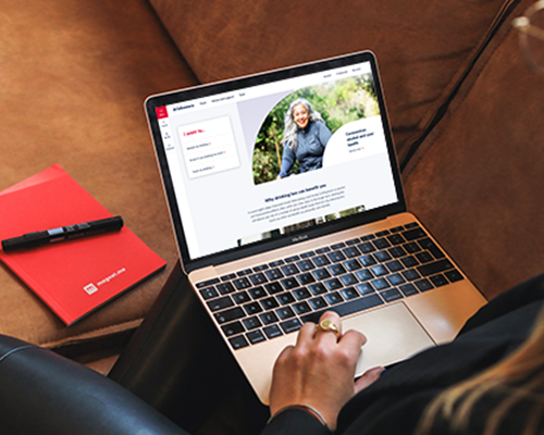 Woman on laptop looking at Drinkaware website