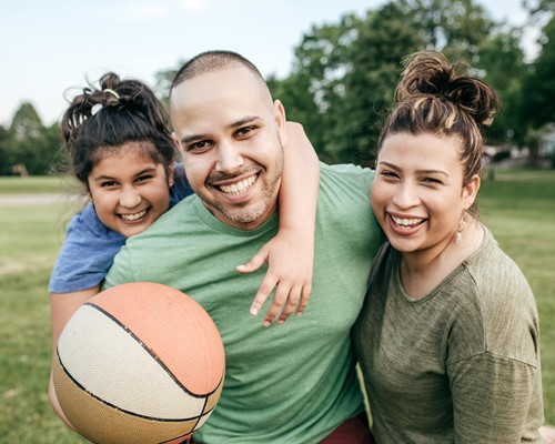 Family with basketball
